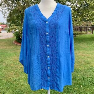 5/$20 Cornflower blue semi-sheer v-neck blouse